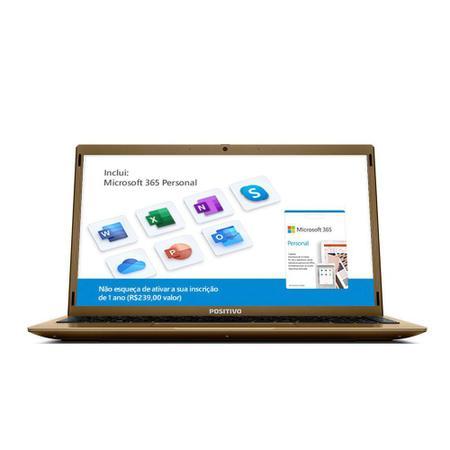 """Imagem de Notebook Intel Atom Quad Core 4GB RAM 128GB eMMC Positivo Motion Q4128C 14.1"""" Windows 10 Dourado"""