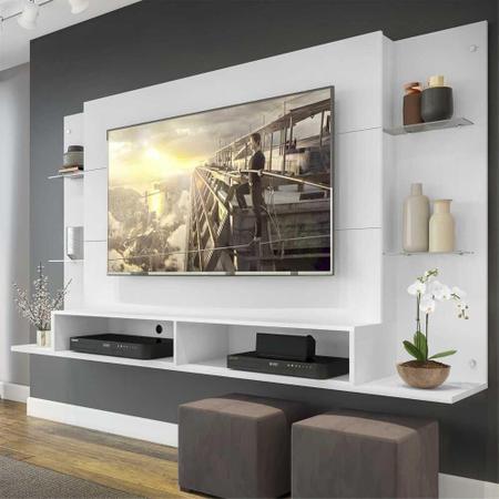 """Imagem de Painel Nairóbi Plus para TV Até 60"""" Branco Acetinado Texturizado"""