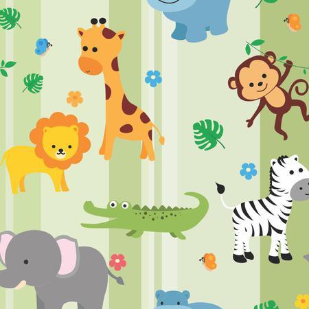 Imagem de Papel de Parede Infantil Animais Safari Bebê Teen N4391