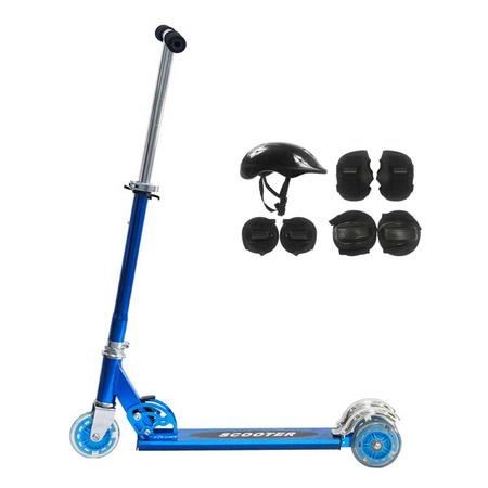 Imagem de Patinete 2 Rodas Até 50 Kg Azul Brinquedo + Kit Proteção