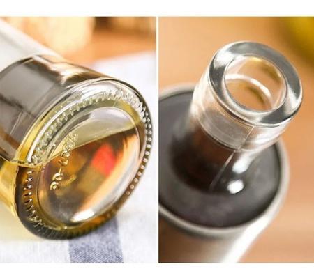 Imagem de Porta Azeite E Vinagre Galheteiro Aço Inox Dosador 200ml 2pç