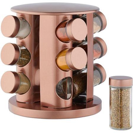 Imagem de Porta Condimento De Aço Inox Rose Gold 12 Potes + Suporte