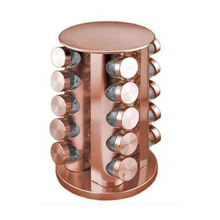 Imagem de Porta Condimento De Aço Inox Rose Gold 21 Potes + Suporte