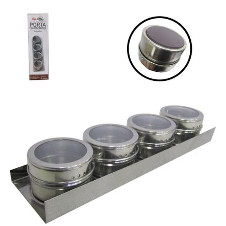 Imagem de Porta condimento de inox imantado kit com 4 pecas + suporte na caixa