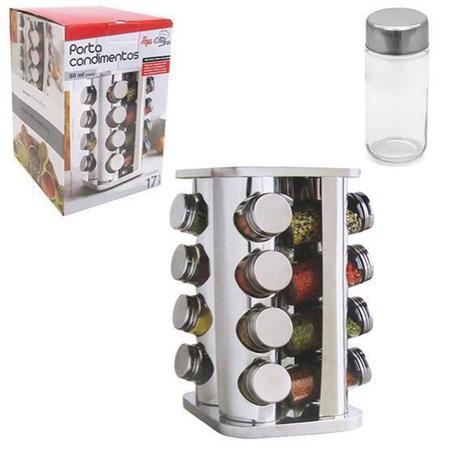 Imagem de Porta Condimento Em Vidro Inox Giratório Com 17 Peças -Top Chef- 4193