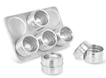 Imagem de Porta condimento magnético em inox 6 pçs - Dolce Home