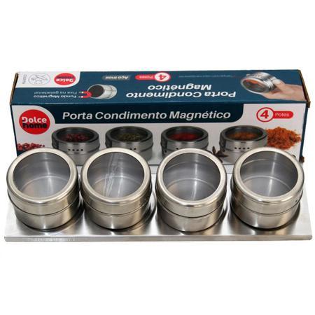 Imagem de Porta Condimento Tempero Magnético Inox 4 Peças