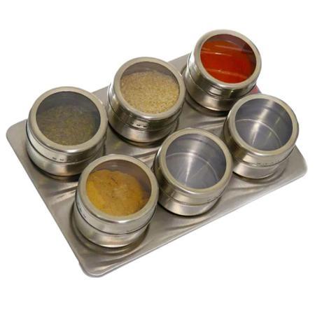 Imagem de Porta Condimento Tempero Magnético Inox 6 Peças - Dolce Home