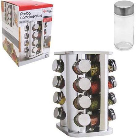 Imagem de Porta Condimentos com 16 Potes de Vidro de 80 ml e Suporte de Inox Giratório - Top chef