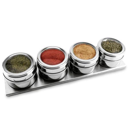 Imagem de Porta Condimentos Magnéticos 5 Peças Inox Kehome