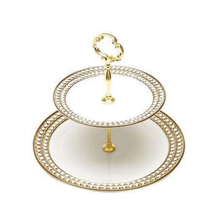 Imagem de Porta Doce 2 Andares Porcelana Super White Charme Dourado