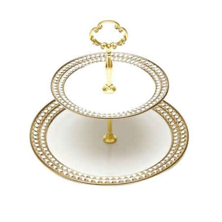 Imagem de Porta-doces 2 andares em porcelana Lyor Charme brando e dourado