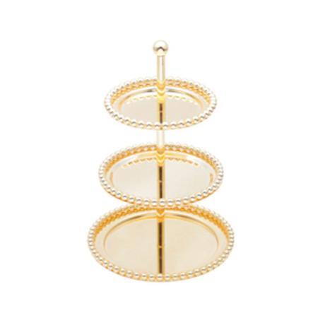 Imagem de Porta Doces 3 Andares de Zamac Balls Dourado 15,8X15,8X23Cm