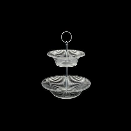 Imagem de Porta Doces Dois Andares de Cristal Renaissance Transparente 20 x 5cm / 15 x 4cm
