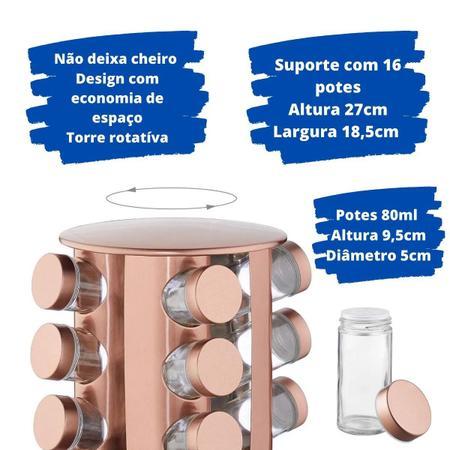 Imagem de Porta Tempero Condimento Giratório Em Inox 16 Potes De Vidro