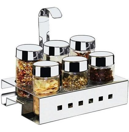 Imagem de Porta temperos e condimentos de mesa em aço inox 6pcs com suporte - Mak Inox