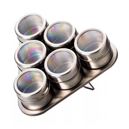 Imagem de Porta Temperos E Condimentos Magnético Em Inox Com 6 Peças