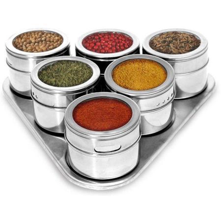 Imagem de Porta Temperos e Condimentos Magnetico Inox Jogo 06 Potes