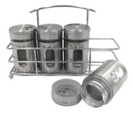 Imagem de Pote Porta Temperos Condimentos Vidro e Inox 4 Peças + Suporte. Decoração Cozinha.