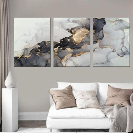 Imagem de Quadro Abstrato Decorativo Mármore Dourado com Cinza - Arte Quadro