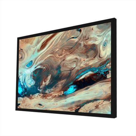 Imagem de Quadro Decorativo - Abstrato Aquarela Areia E Azul