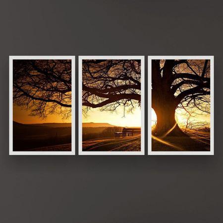 Imagem de Quadro Decorativo Árvore Grande Nascer Do Sol 3P 124x60 Sala Quarto