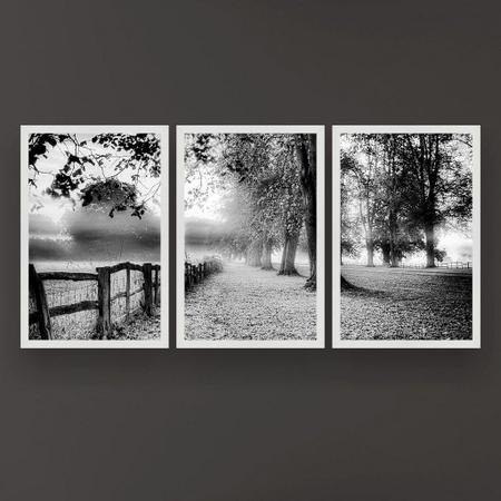 Imagem de Quadro Decorativo Árvores Folhagem 3P 124x60 Sala Quarto
