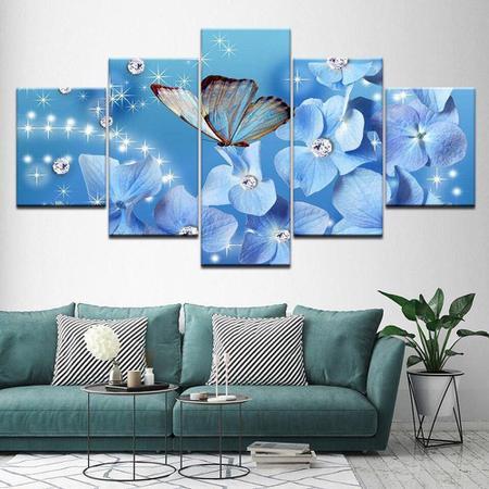 Imagem de quadro decorativo borboleta flores azul sala 5 peças