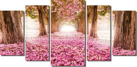 Imagem de Quadro decorativo caminho com ipê rosa florido