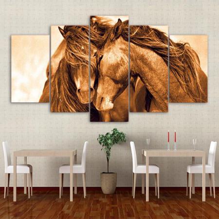 Imagem de quadro decorativo cavalo marrom juntos sala 5 peças