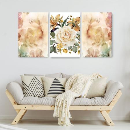 Imagem de Quadro Decorativo Flor Grande 3P Sem Moldura 115x57 Sala Quarto