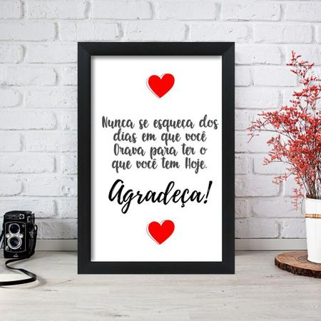 Imagem de Quadro Decorativo Frase Agradeça 33x22 Sala Quarto