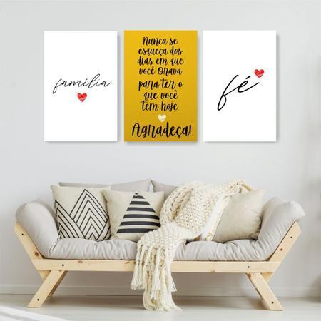 Imagem de Quadro Decorativo Frases Família Amarelo 3P Sem Moldura 115x57 Sala Quarto