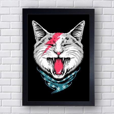 Imagem de Quadro Decorativo Gato Rock Cat Mod 290 21x30cm