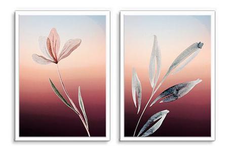 Imagem de Quadro Decorativo Kit Flor Aquarela Bordô