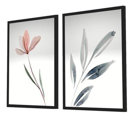 Imagem de Quadro Decorativo Kit Flor Aquarela Cinza Com Vidro