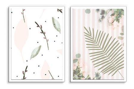 Imagem de Quadro Decorativo Kit Folhagem Desenho Rose