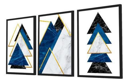 Imagem de Quadro Decorativo Kit Geométrico Azul&dourado