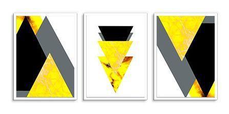 Imagem de Quadro Decorativo Kit Geométrico Mármore Amarelo