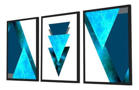 Imagem de Quadro Decorativo Kit Geométrico Mármore Azul