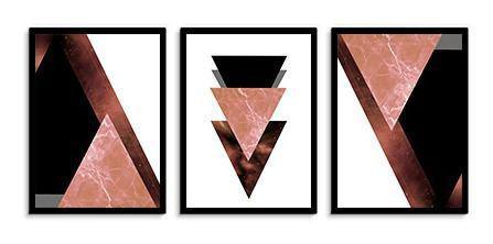 Imagem de Quadro Decorativo Kit Geométrico Mármore Bordô