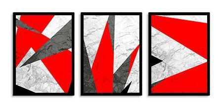 Imagem de Quadro Decorativo Kit Geométrico Vermelho
