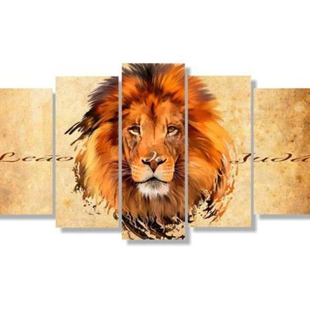 Imagem de quadro decorativo leão tribo de juda sala 5 peças