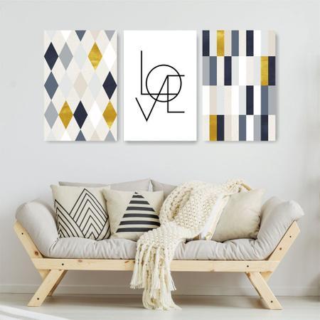 Imagem de Quadro Decorativo Love Amarelo 3P Sem Moldura 115x57 Sala Quarto