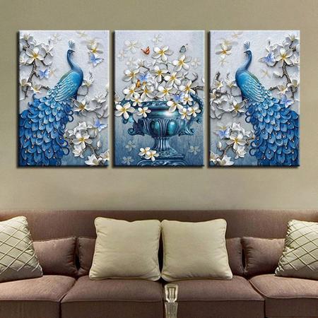 Imagem de Quadro decorativo mosaico 3 peças Pavão azul luxo orquídea flor borboletas cartaz da arte