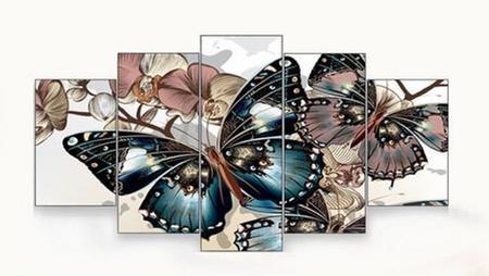 Imagem de Quadro decorativo paisagem borboleta flores sala 5 peças