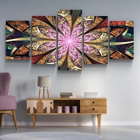 Imagem de Quadro decorativo paisagem flor mandala rosa abstrato 5 peças