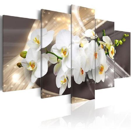 Imagem de quadro decorativo paisagem flor orquídea branca do fundo marrom sala 5 peças