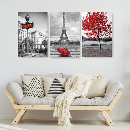 Imagem de Quadro Decorativo Paris Preto e Vermelho 3P Sem Moldura 115x57 Sala Quarto