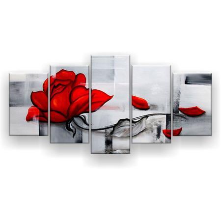 Imagem de Quadro Decorativo Pintura Rosa Vermelha 129x61 5pc Sala